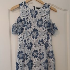 French Connection Cold Shoulder Floral Lace Dress